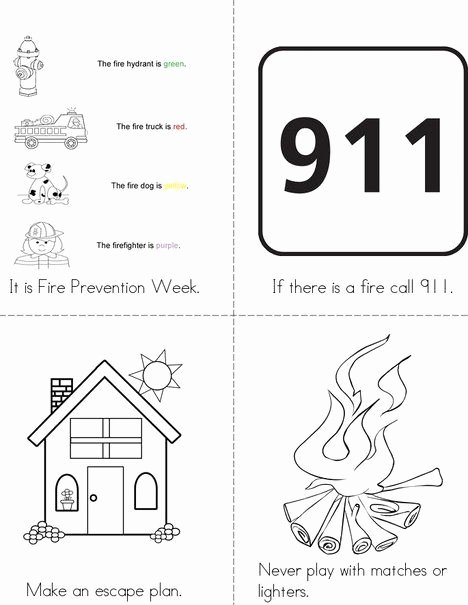 911 Worksheets for Preschoolers Fresh Fire Prevention Week Mini Book