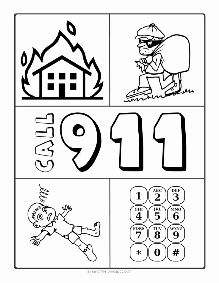 911 Worksheets for Preschoolers Unique 911 Coloring Sheet