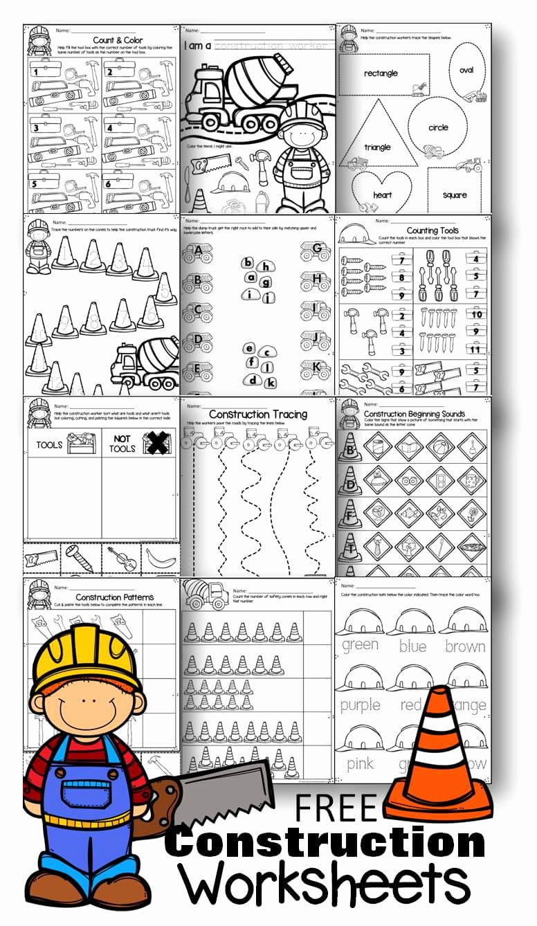 Activities Worksheets for Preschoolers top Free Construction Worksheets for Preschoolers