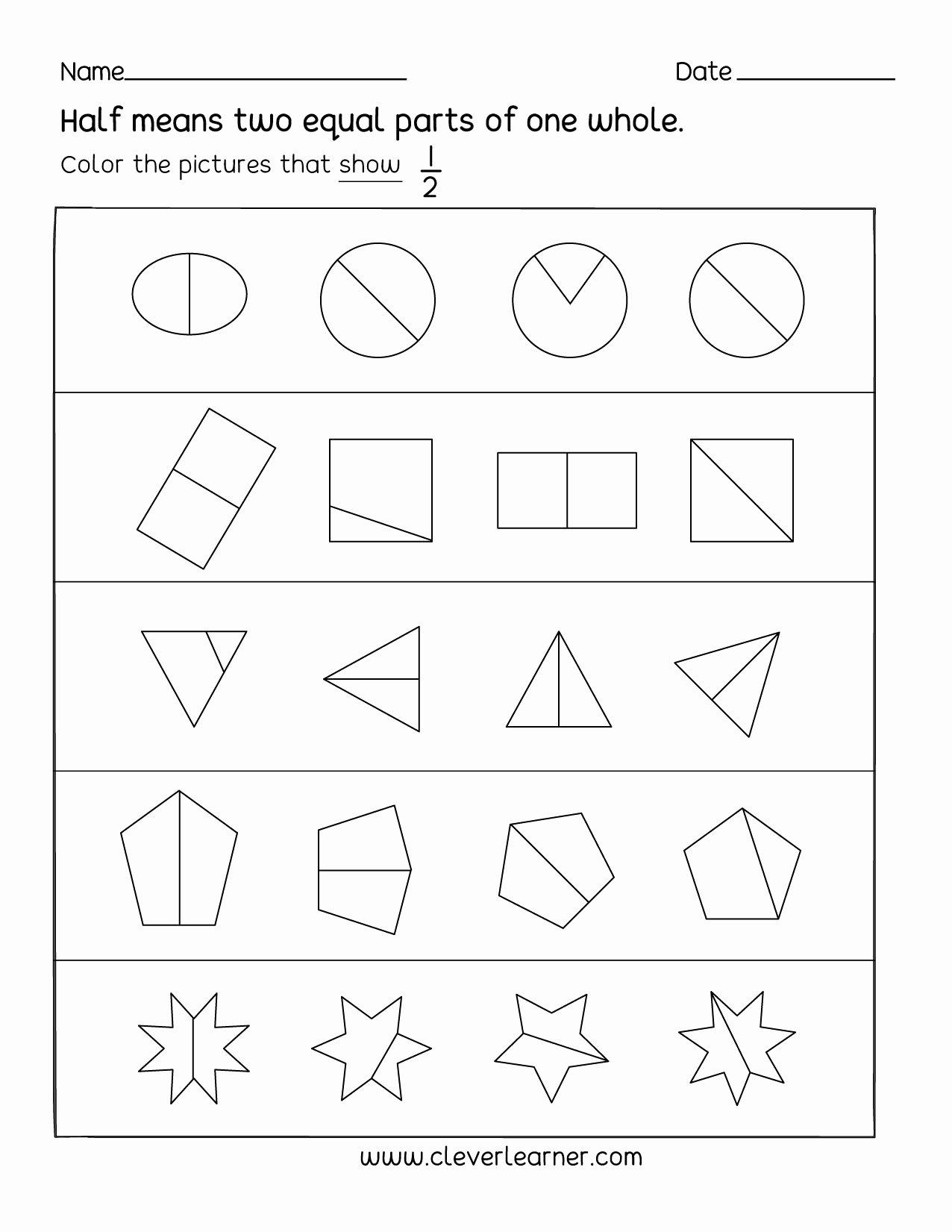 Activity Worksheets for Preschoolers Lovely Fun Activity On Fractions Half 1 2 Worksheets for Children