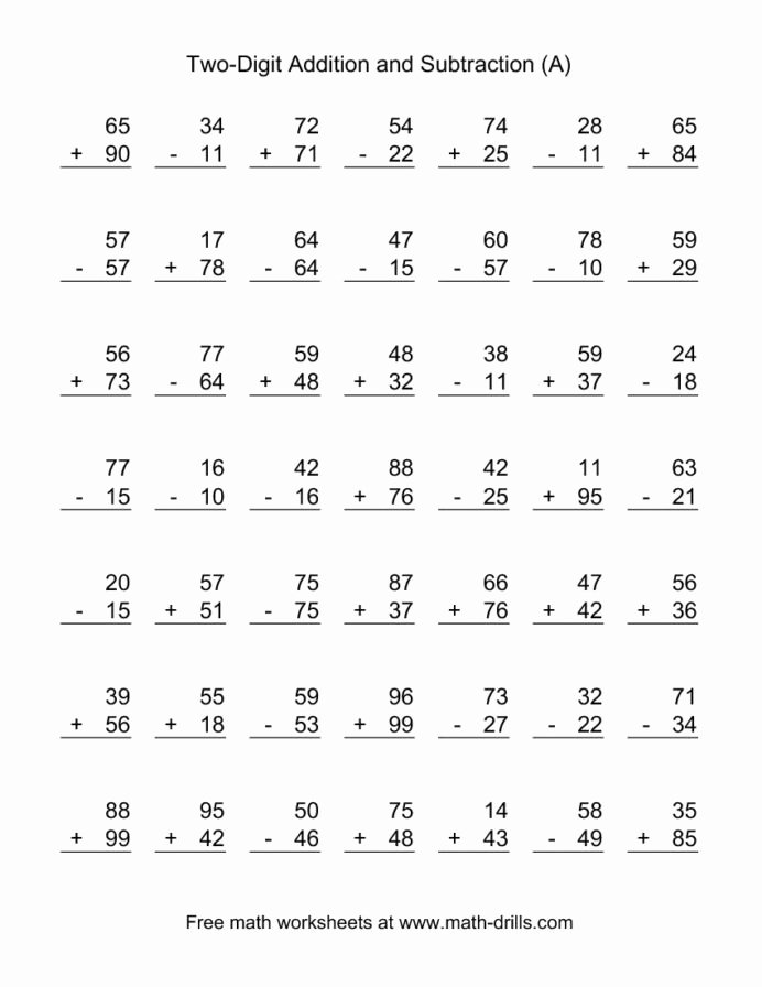 Addition and Subtraction Worksheets for Preschoolers Fresh Two Digit Bined Addition and Subtraction Worksheet