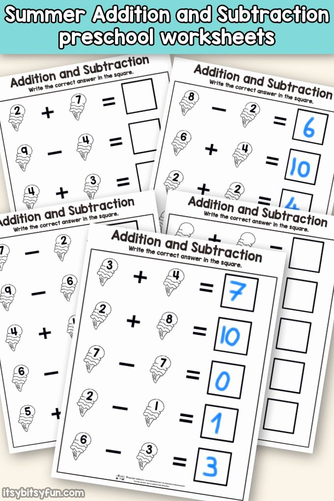Addition and Subtraction Worksheets for Preschoolers Inspirational Summer Addition and Subtraction Worksheets Itsybitsyfun