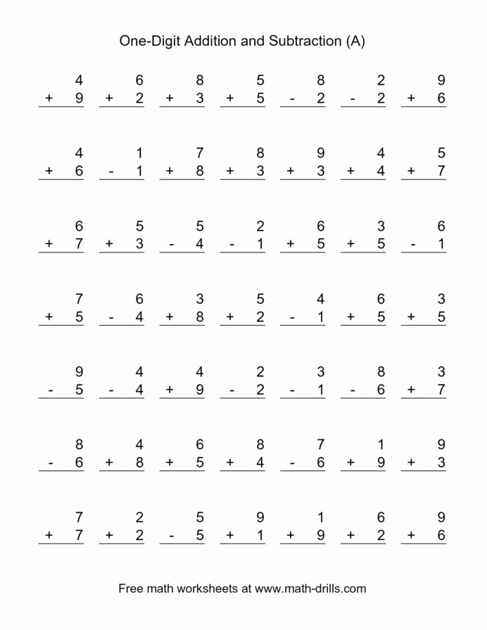 Addition and Subtraction Worksheets for Preschoolers Unique Addition and Subtraction Worksheet Math Free Worksheets