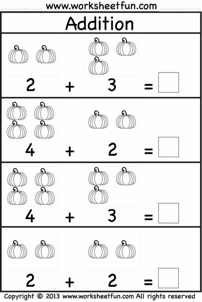 Addition Worksheets for Preschoolers Awesome Kindergarten Math Worksheets for Printable Free Sums with