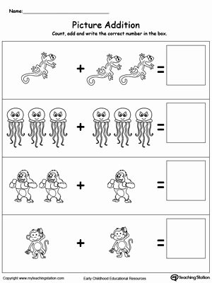 Addition Worksheets for Preschoolers with Pictures New Addition with Animals