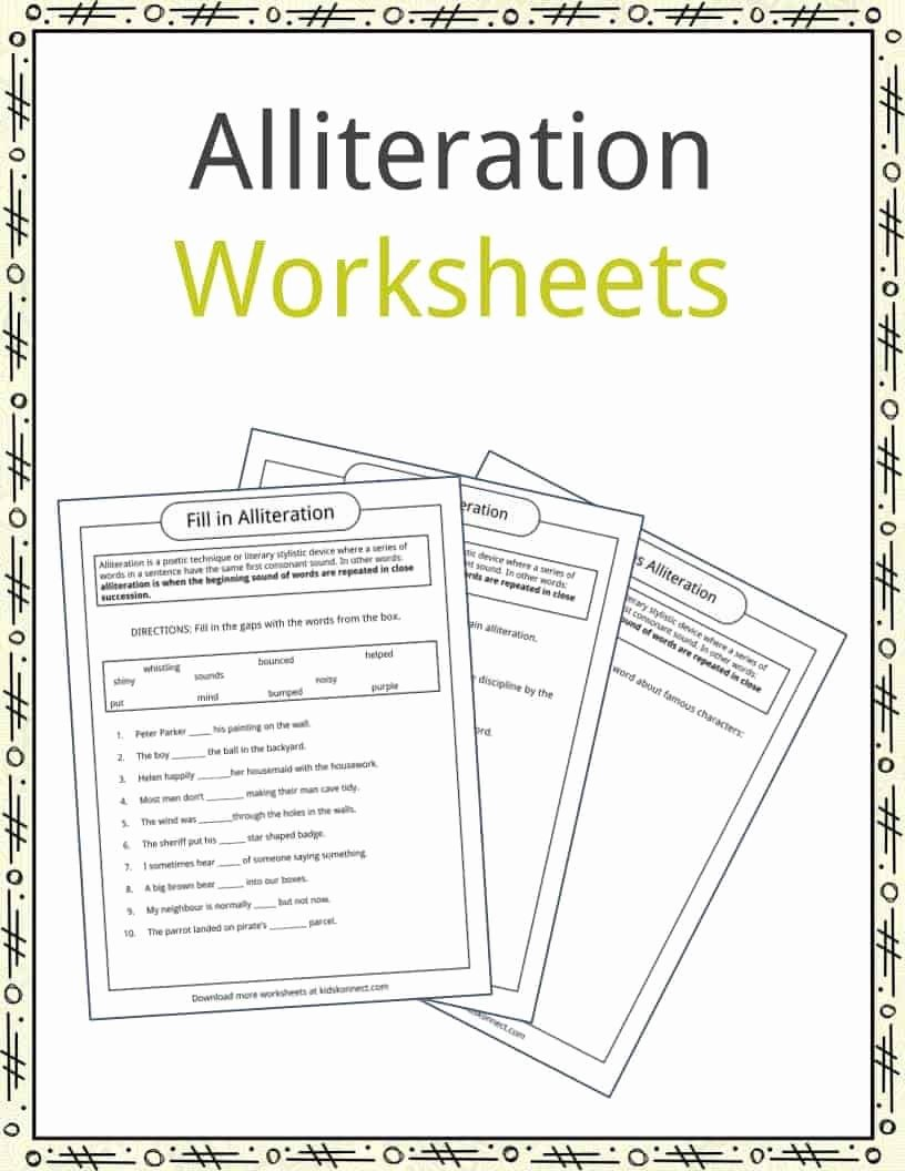 Alliteration Worksheets for Preschoolers Inspirational Alliteration Examples Definition & Worksheets