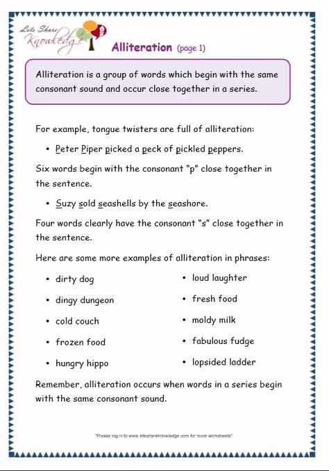 Alliteration Worksheets for Preschoolers top Alliteration Worksheets for Grade 5
