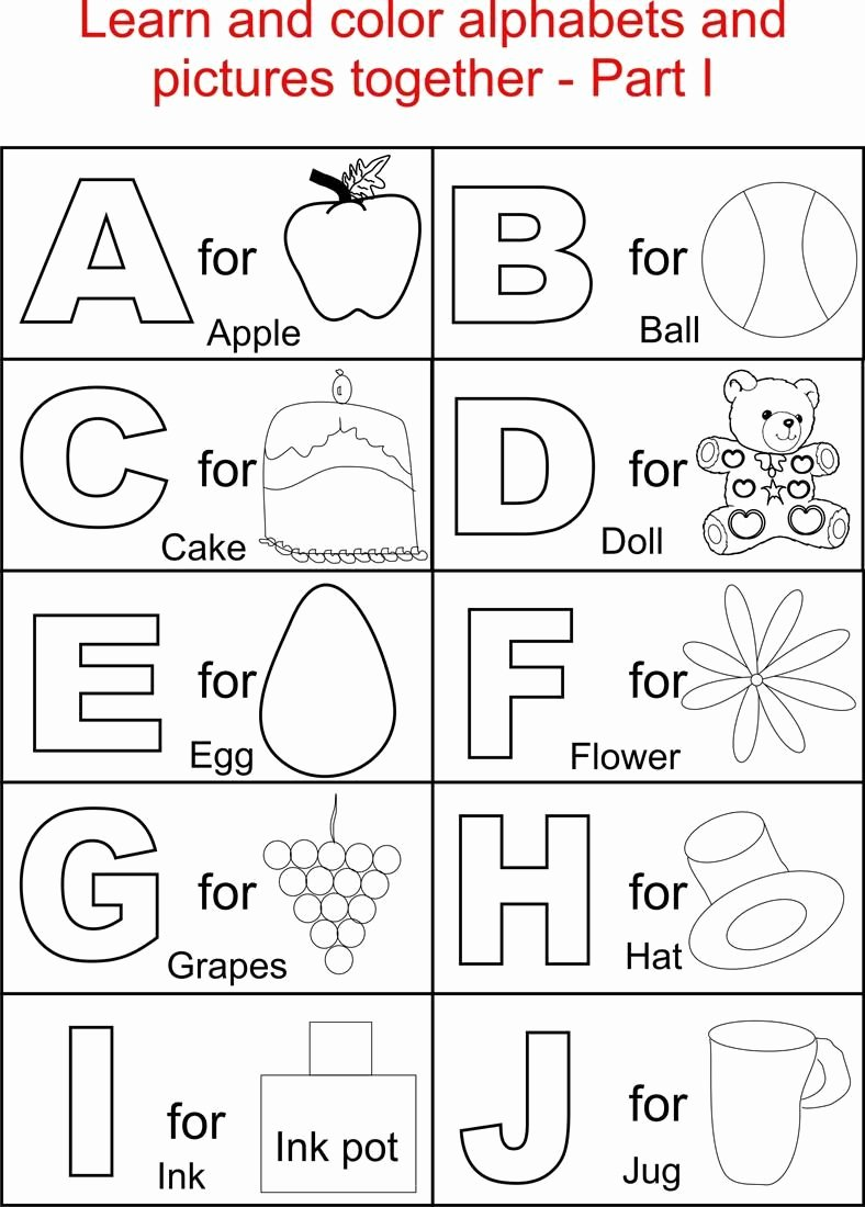 Alphabet Colouring Worksheets for Preschoolers Fresh Alphabets and Pictures Colouring for Kids