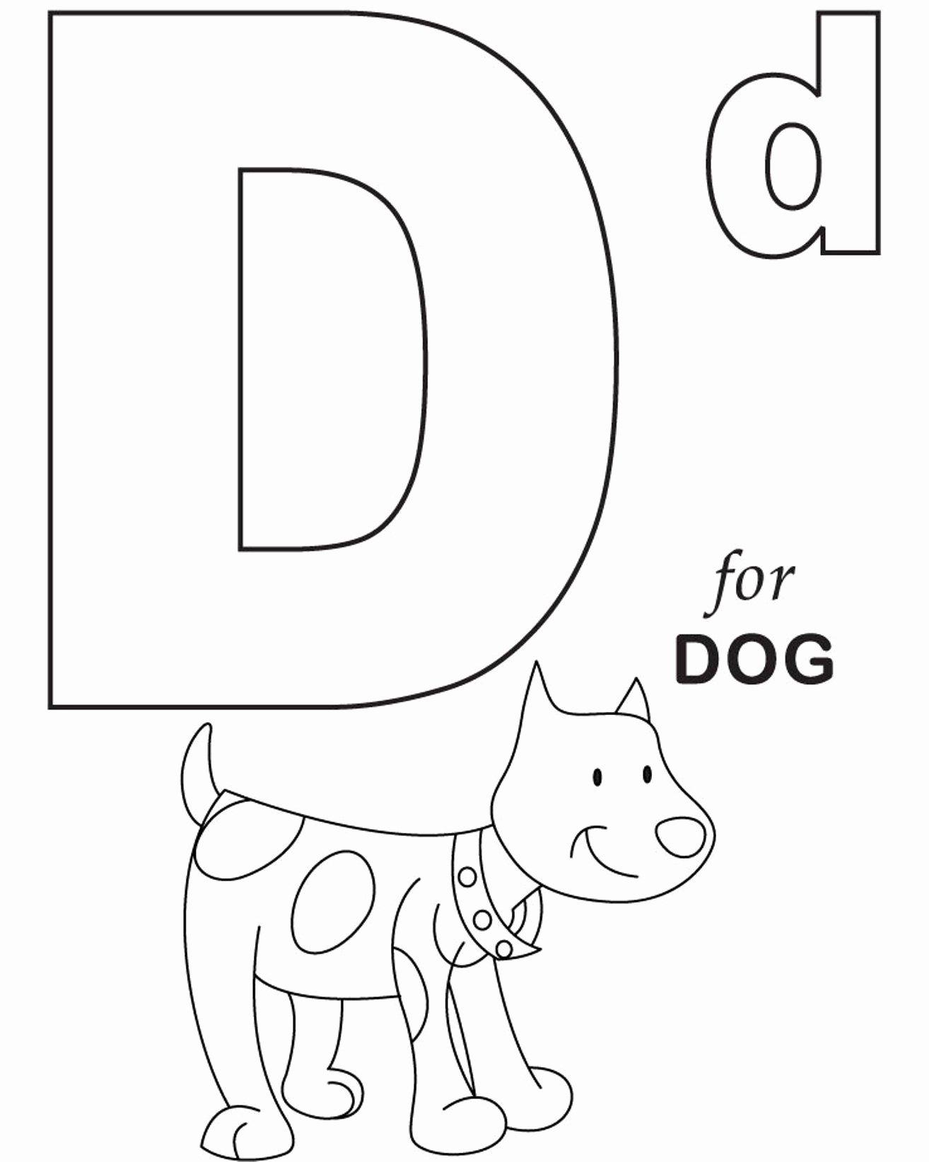 Alphabet Colouring Worksheets for Preschoolers Unique Alphabet Coloring for Dog Printable Letter Worksheets