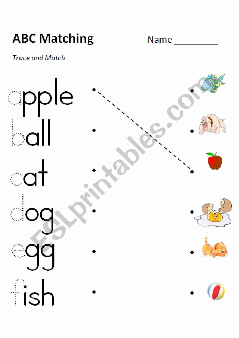 Alphabet Matching Worksheets for Preschoolers Beautiful Phonics Matching Versions In Color and Grayscale Esl