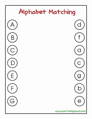 Alphabet Matching Worksheets for Preschoolers Fresh Letter Matching Printables
