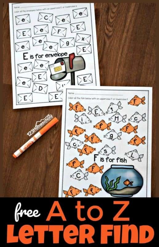 Alphabet Printable Worksheets for Preschoolers Fresh Free A to Z Letter Find Worksheets