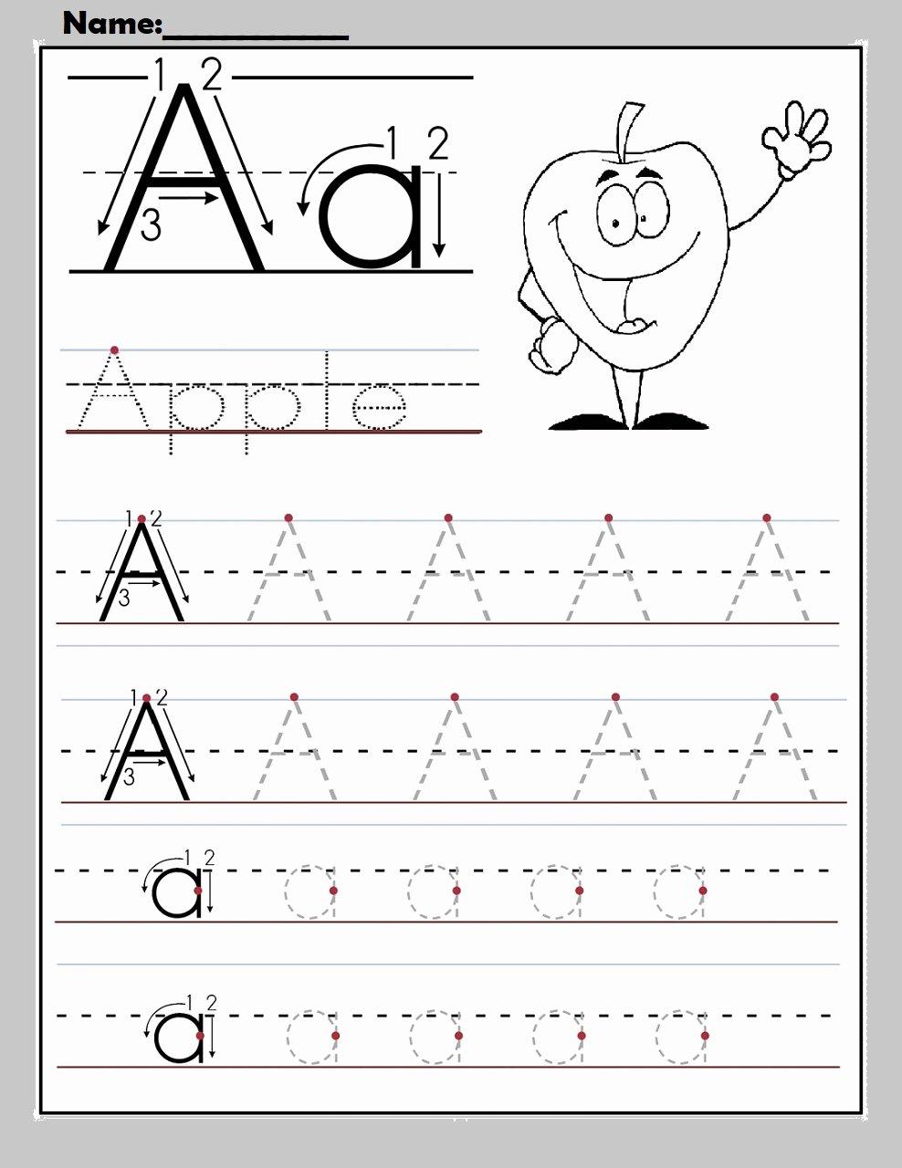 Alphabet Worksheets for Preschoolers Beautiful Worksheet Free Alphabet Worksheets to Print for Apple