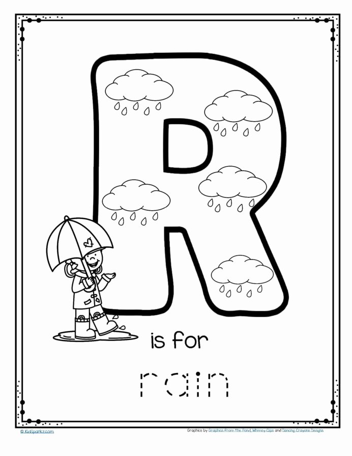 Alphabet Worksheets for Preschoolers Tracing Lovely Free is for Rain Alphabet Trace and Color Printable