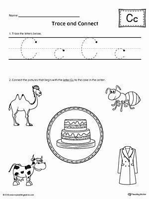 Alphabet Worksheets for Preschoolers Unique Trace Letter C and Connect Worksheet