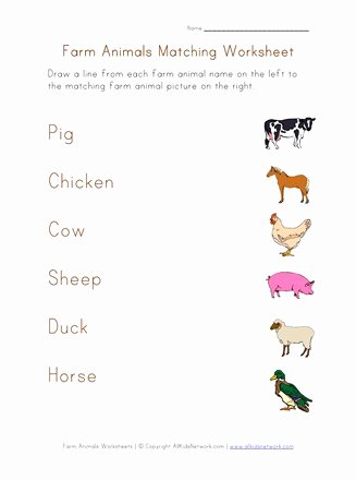 Animal Worksheets for Preschoolers Inspirational Farm Animals Matching Worksheet