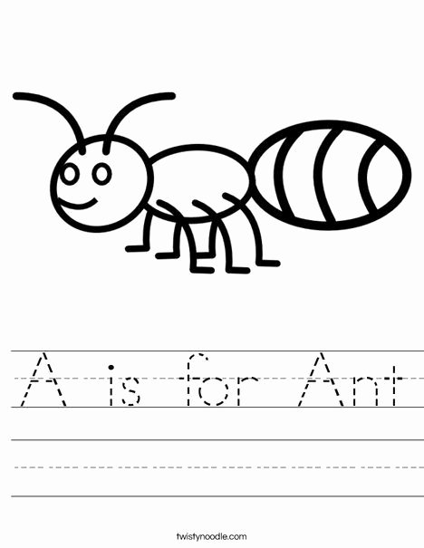 Ant Worksheets for Preschoolers Awesome A is for Ant Worksheet