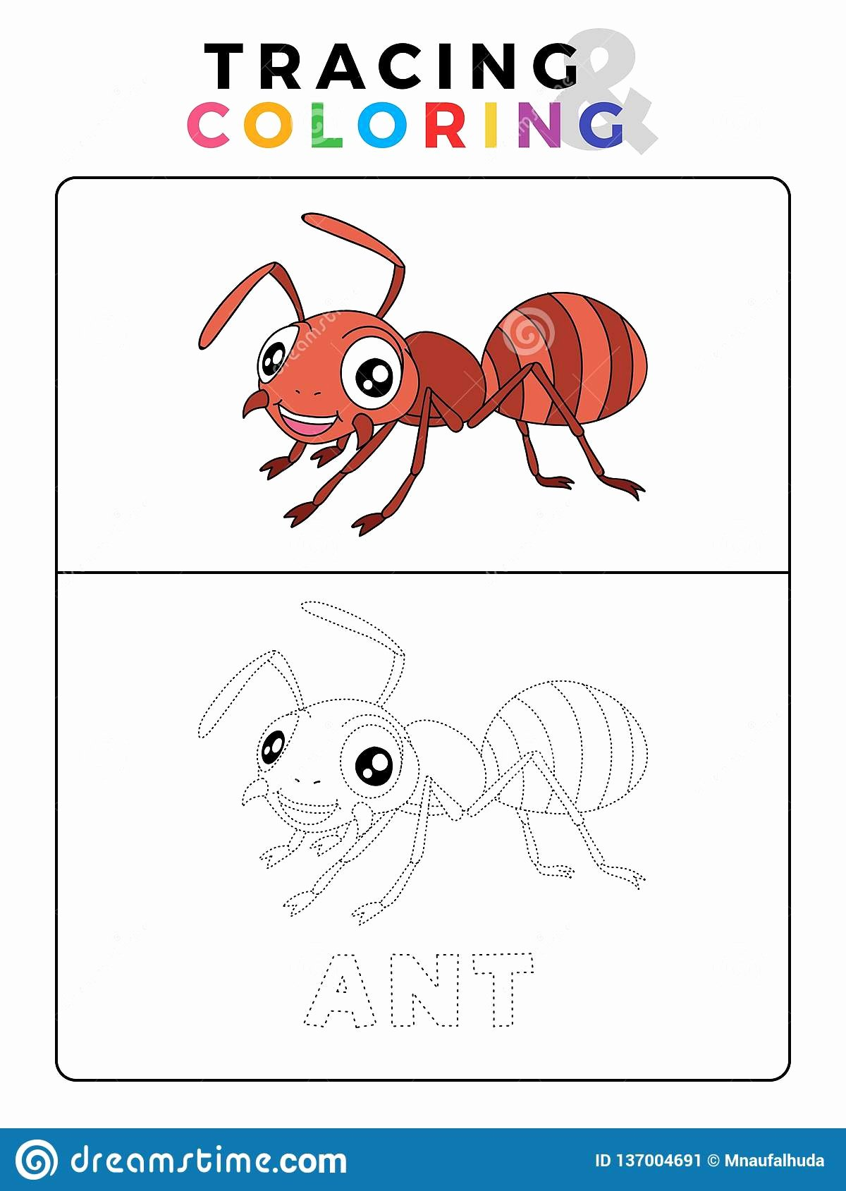 Ant Worksheets for Preschoolers Awesome Funny Ant Insect Animal Tracing and Coloring Book with