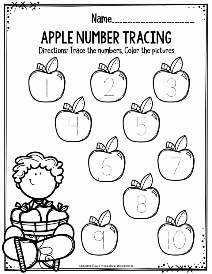 Apple Worksheets for Preschoolers top Preschool Worksheets Apple Number Tracing the Keeper