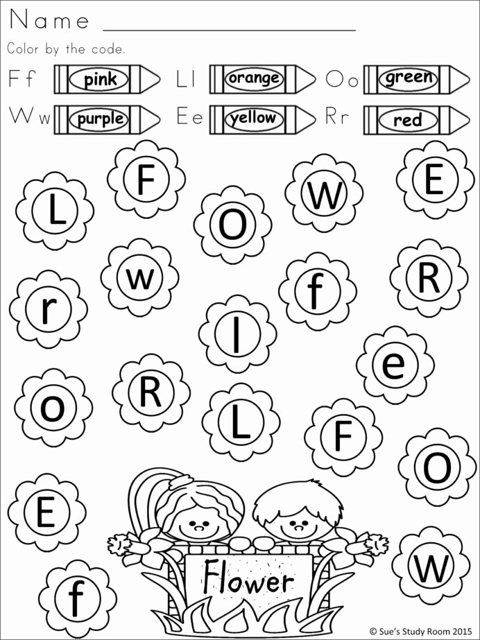 Art Worksheets for Preschoolers New Spring Letter Recognition for Prek and Color Black