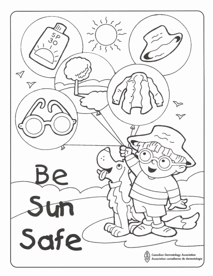 Association Worksheets for Preschoolers top Sun Safe Colouring Sheet Summer Safety Workplace Worksheets
