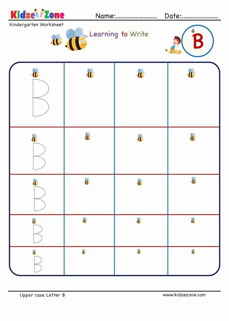 B Worksheets for Preschoolers Awesome Kindergarten Letter Writing In Multiple Sizes Letter B