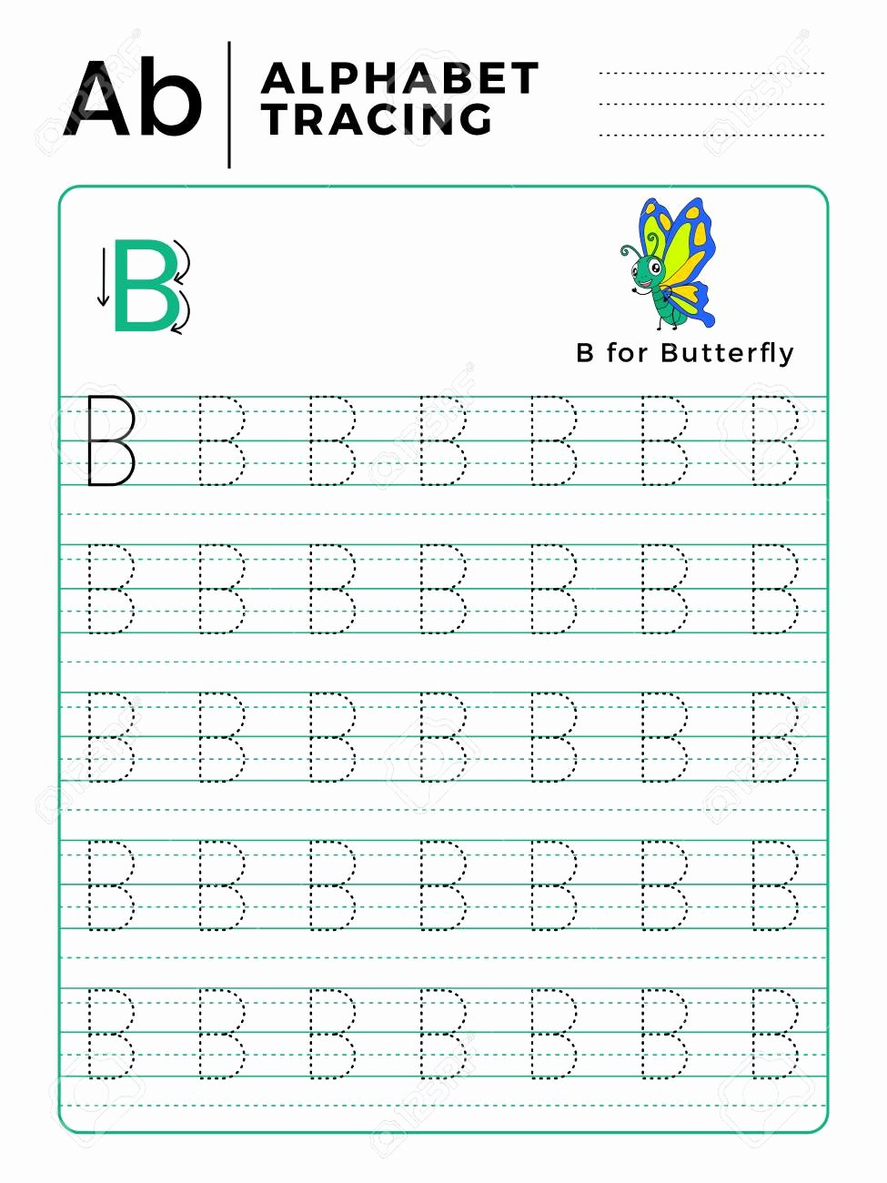 B Worksheets for Preschoolers Lovely Letter B Alphabet Tracing Book with Example and Funny butterfly