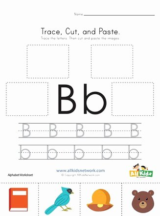 B Worksheets for Preschoolers New Trace Cut and Paste Letter B Worksheet