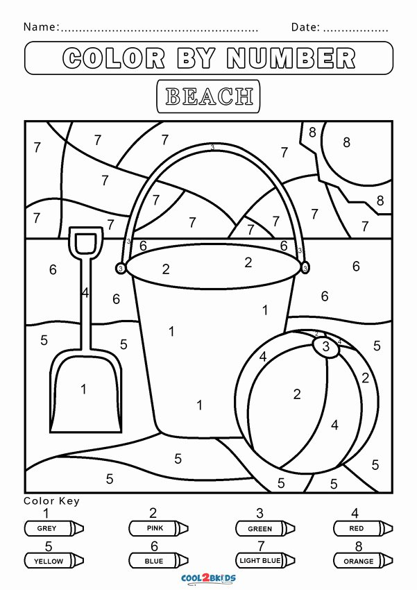 Beach Worksheets for Preschoolers New Free Color by Number Worksheets Cool2bkids Beach solid Fun