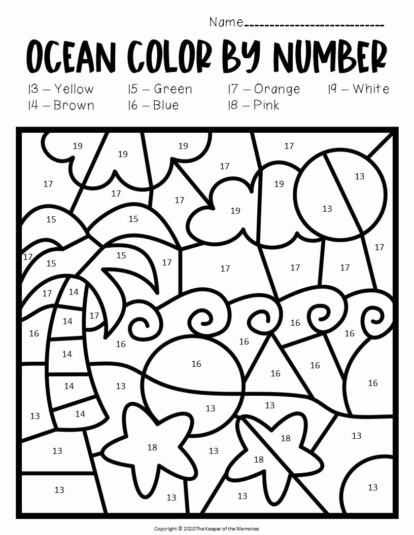 Beach Worksheets for Preschoolers Unique Color by Number Ocean Preschool Worksheets Beach the