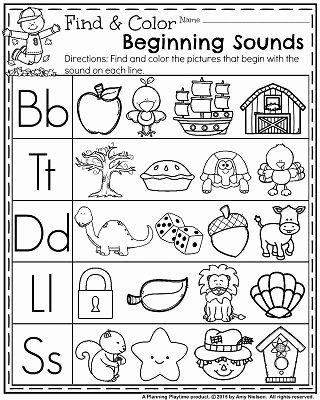 Beginning sounds Worksheets for Preschoolers New November Preschool Worksheets Planning Playtime