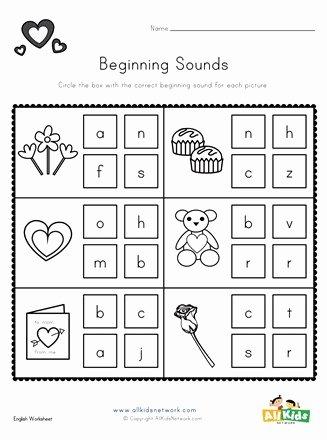 Beginning sounds Worksheets for Preschoolers New Valentine S Day Beginning sounds Worksheet