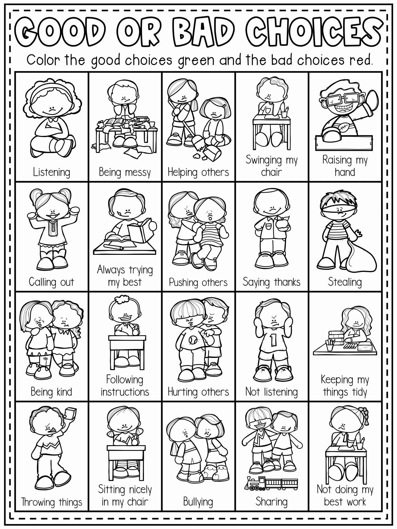 Behavior Worksheets for Preschoolers Awesome Pin On Kindergarten Worksheet
