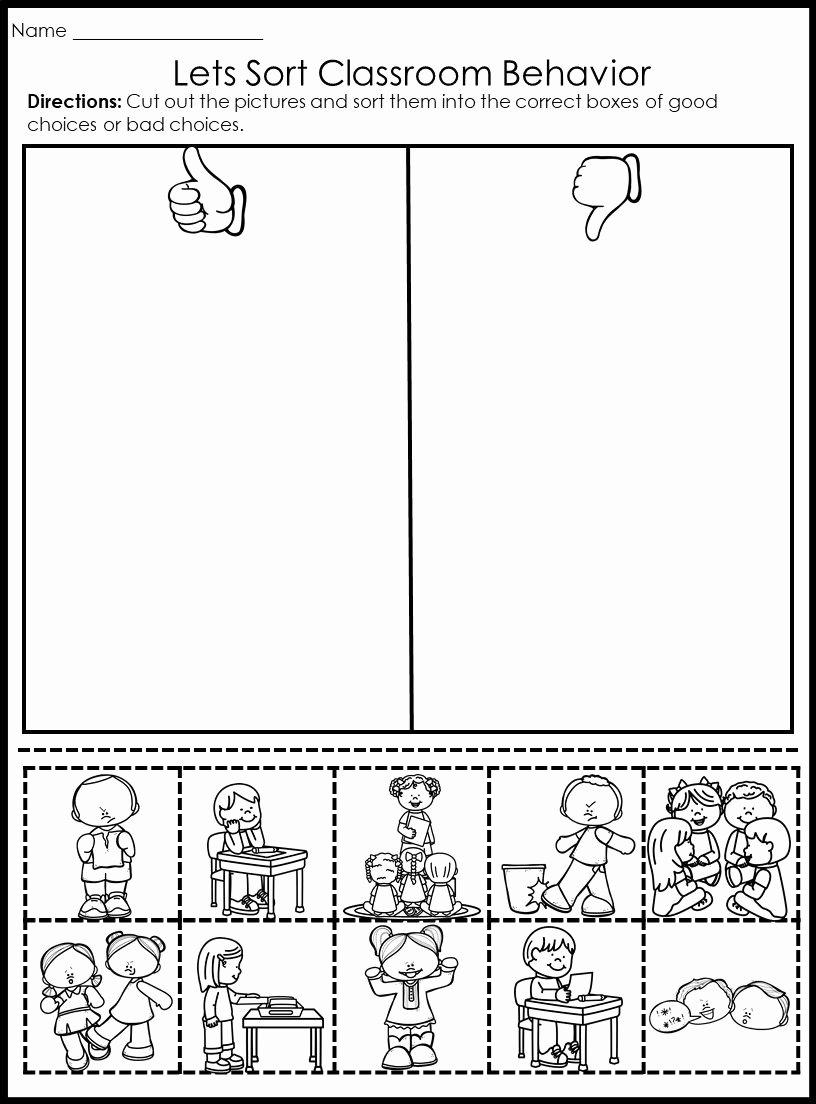 Behavior Worksheets for Preschoolers Lovely Behavior Picture sorts Back to School