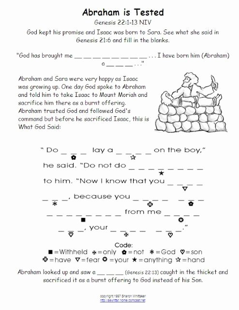 Bible Story Worksheets for Preschoolers New Bible Crafts for Kids Sacrifice