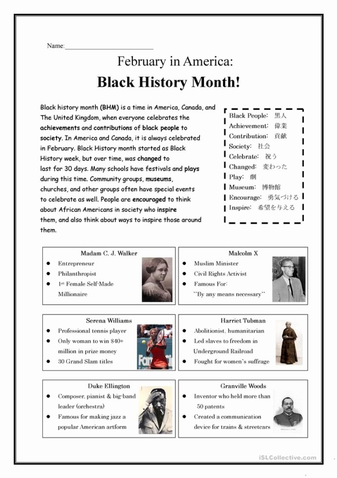Black History Worksheets for Preschoolers Inspirational Black History Month English Esl Worksheets for Distance Fun