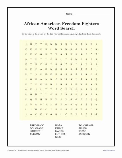 Black History Worksheets for Preschoolers Unique Freedom Fighter Word Search Black History Month Worksheets