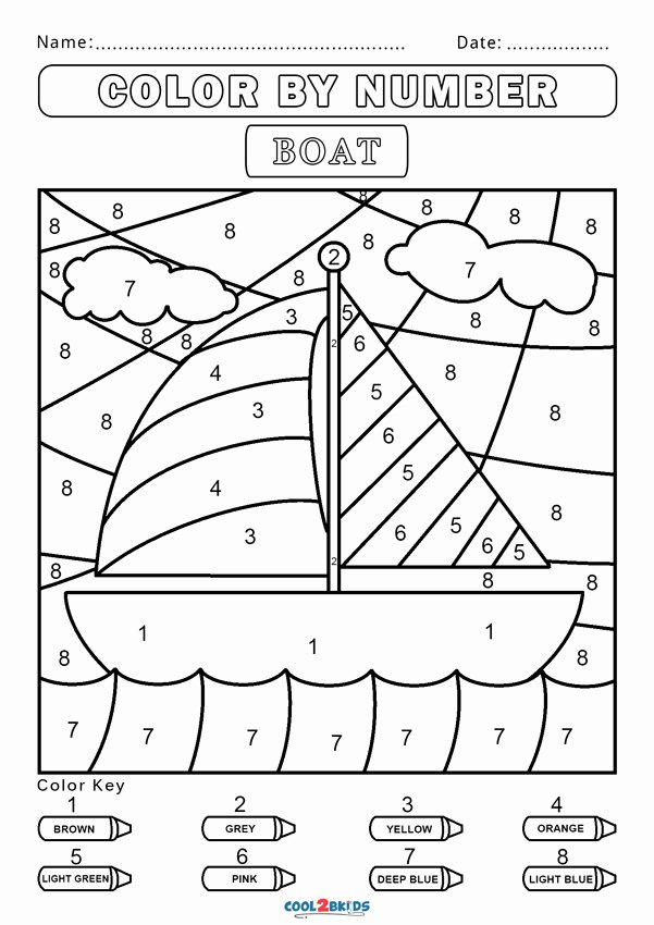 Boat Worksheets for Preschoolers Beautiful Free Color by Number Worksheets Cool2bkids Boat Grade Math