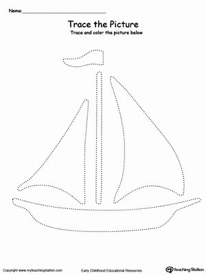 Boat Worksheets for Preschoolers Best Of Boat Picture Tracing