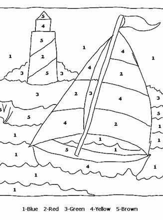 Boat Worksheets for Preschoolers Lovely Sail Boat Color by Numbers