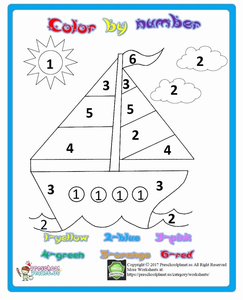 Boat Worksheets for Preschoolers top Color by Number Printable