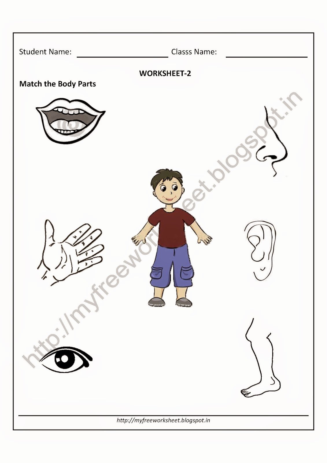 Body Parts Worksheets for Preschoolers Inspirational Pdf Free for Nursery Kids Match the Body Parts Worksheet Evs