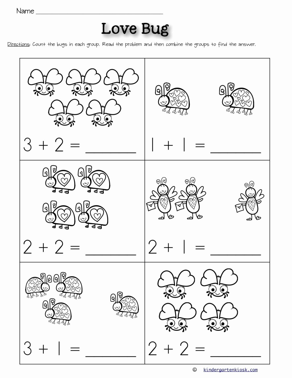 Bug Math Worksheets for Preschoolers Awesome Worksheet Addition forindergarten Worksheets February Math