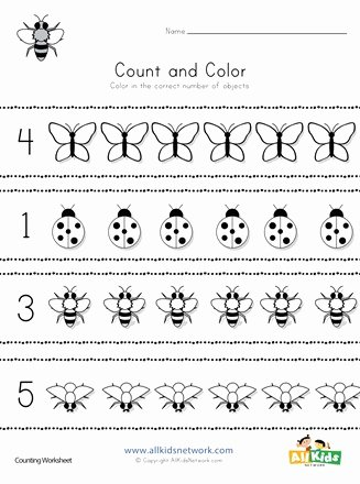 Bug Math Worksheets for Preschoolers Best Of Bug Count and Color Worksheet