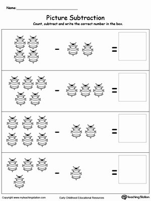 Bug Math Worksheets for Preschoolers Unique Worksheet Subtract Using Bugs Kindergarten