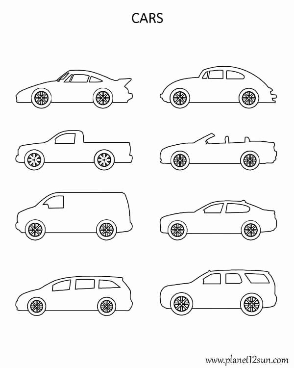 Car Worksheets for Preschoolers Awesome Shapes Cars Coloring Page Planet12sun Printables