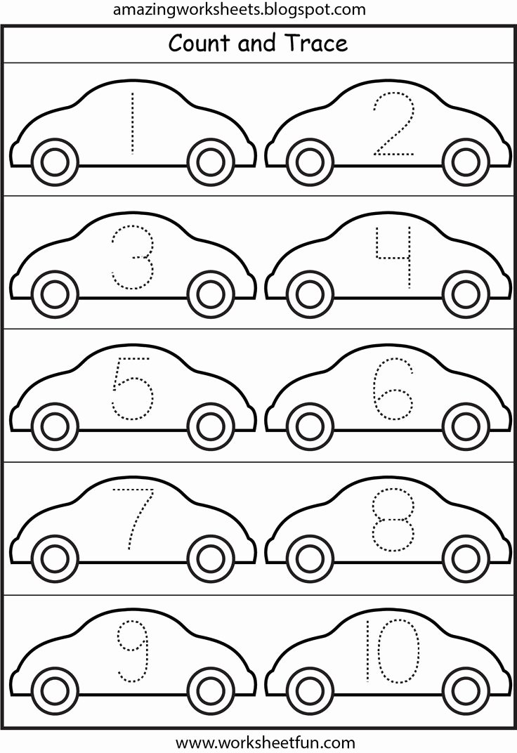 Car Worksheets for Preschoolers Beautiful Number Tracing Cars