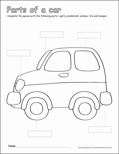 Car Worksheets for Preschoolers Inspirational Label and Colour the Parts Of the Car Free Printable