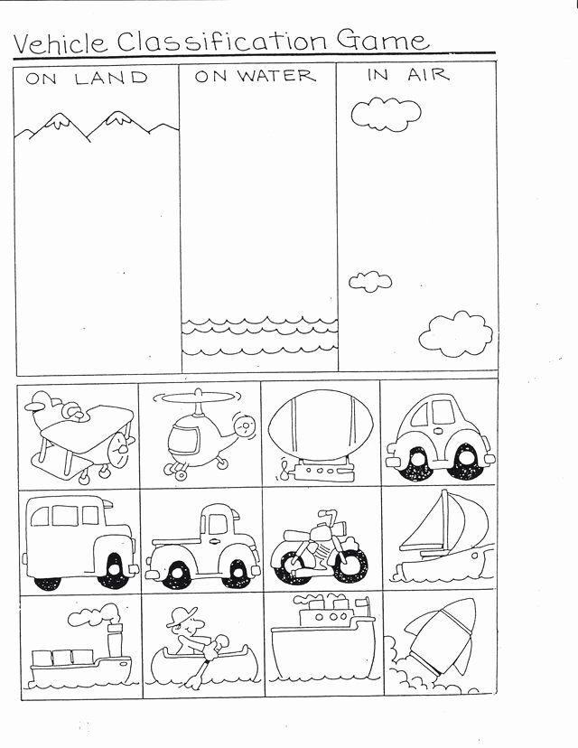 Car Worksheets for Preschoolers Lovely Vehicles Classification Game
