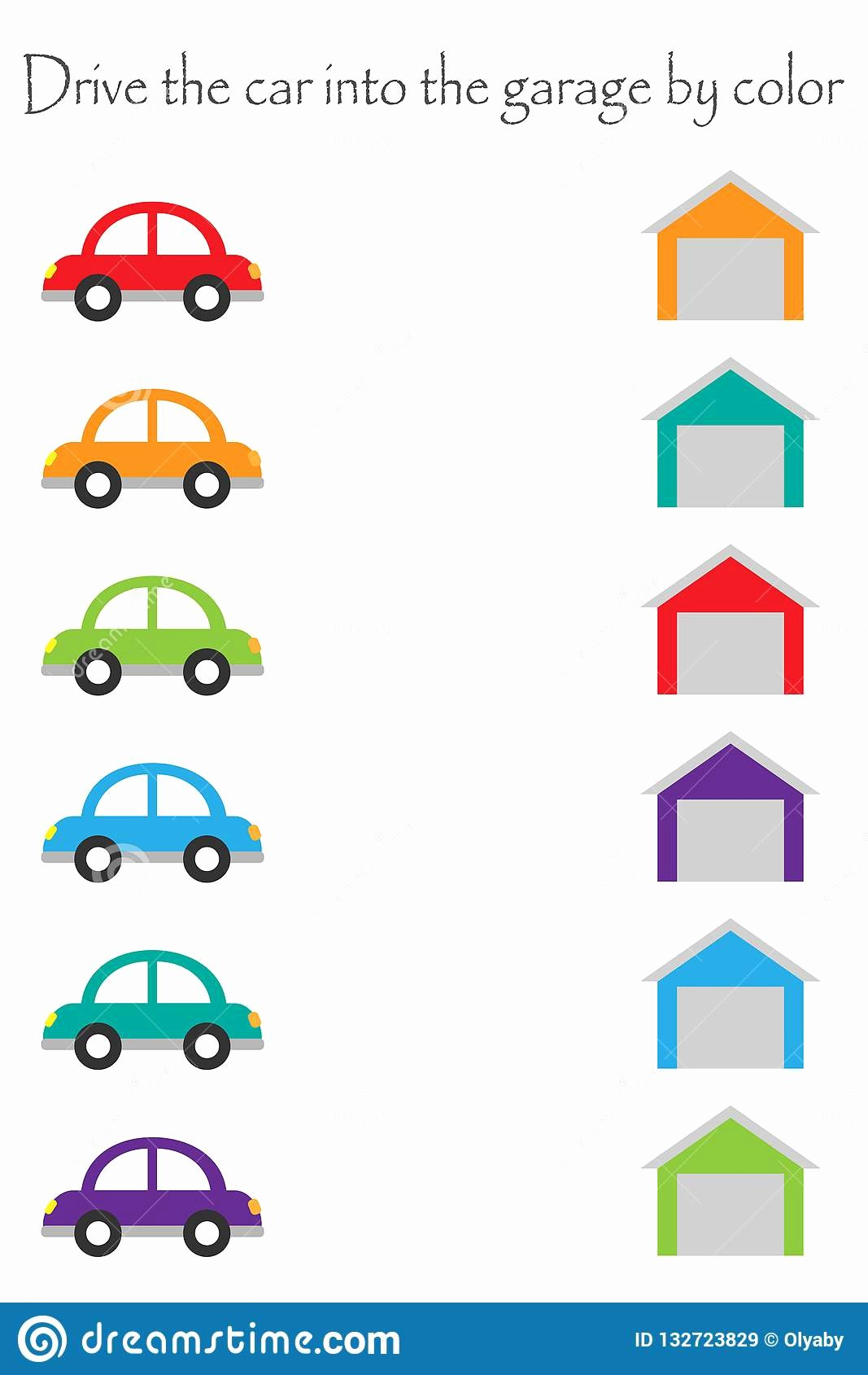 Car Worksheets for Preschoolers New Drive Colorful Cars In Cartoon Style Into Garages by Color